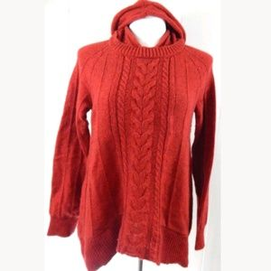 Moth Anthro Fireside Cable Knit Hoodie Sweater
